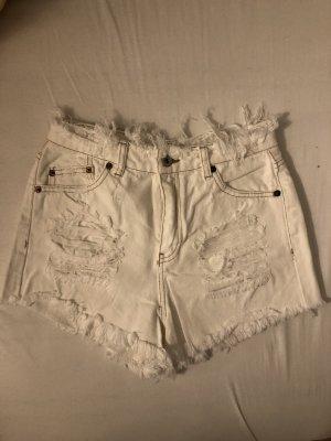 Pull & Bear Short taille haute blanc