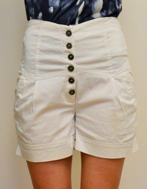 weiße high-waisted Vero Moda Shorts Größe 36 mit hoher Knopfleiste