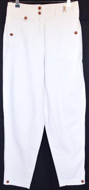 Weiße Hose aus festem Jeansstoff, reine Baumwolle