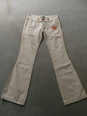 weiße Hose / Jeans mit bunten Ziernähten, Highlights, Prints etc von Jetlag - Gr. 26/34
