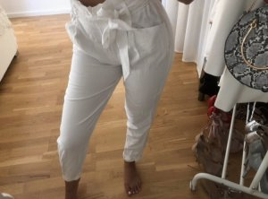 Zara Pantalon taille haute blanc