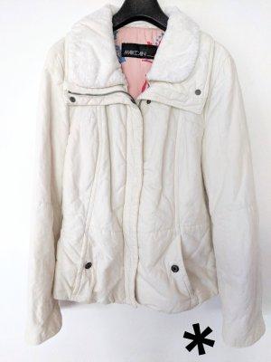 Weiße Jacke mit Kunstpelzkragen von Marc Cain