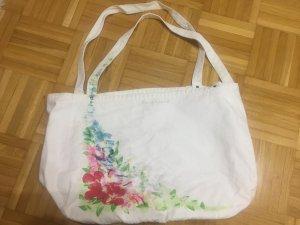 Weiße Jackpot Stofftasche mit Bumen
