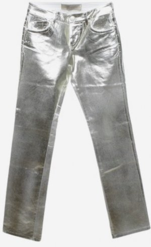 Weiße Jeans Denimhose, Silber-Gold laminiert