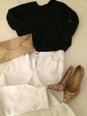 weiße Jeans Hose Röhrenjeans