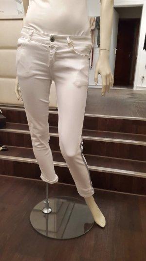 Weiße Jeans mit dunklen glitzer Seitenstreifen (Maryley) Gr.S