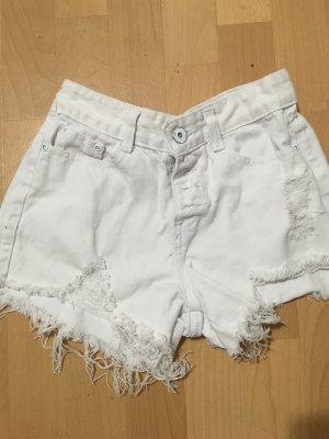 Weiße Jeans Short in used Optik