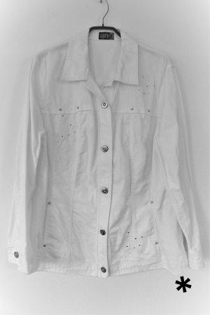 Weiße Jeansjacke mit Strassapplikationen