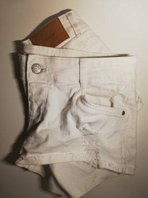 Zara Pantalón corto de tela vaquera blanco