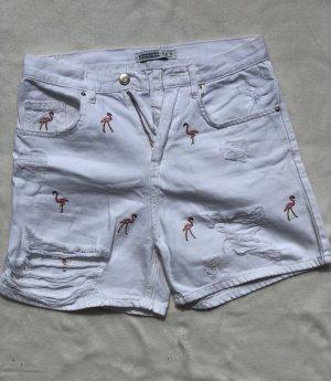 Zara Basic Short en jean blanc-rose