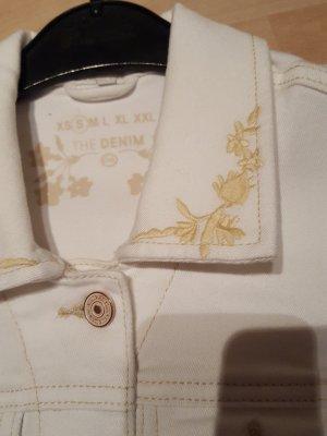 weiße Jeansweste mit Stickereien