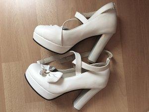 Weiße Jinpin High-Heels 38 mit Schleife