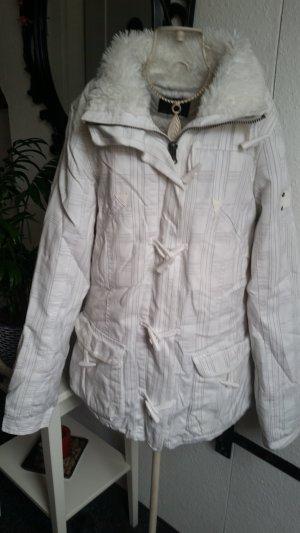 Weiße karierte Winterjacke mit Fell von Fishbone