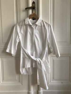 Weiße kurzärmlige Bluse mit Gürtel zum Binden von H&M Trend Größe 34