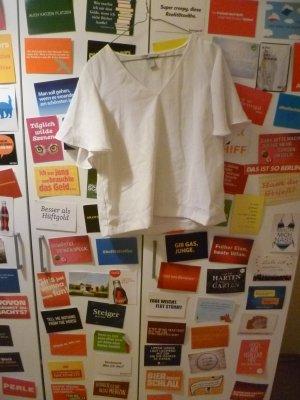 Weiße kurzärmlige Bluse von H&M, Oversize, Basic, 38, 40, M