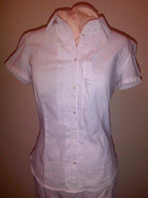 Weiße Kurzarm-Bluse in 44 (Baumwolle,Elastan)