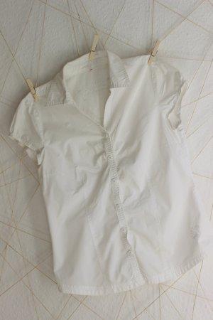 weiße Kurzarm-Bluse mit Raffung