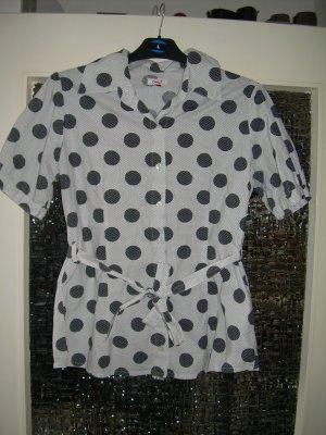 weiße Kurzarm Bluse mit schwarzen Punkten Gr. L 40 von Only