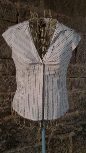 weiße Kurzarm-Bluse mit schwarzen und silber-glitzernden Streifen