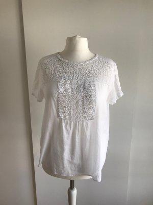 Weiße Kurzarm-Bluse mit Spitze