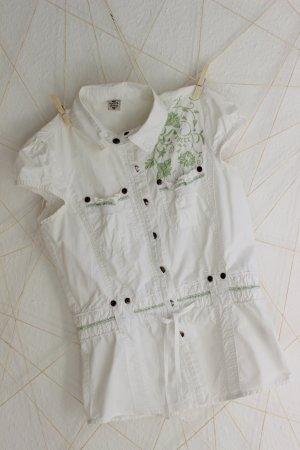 weiße Kurzarm-Bluse mit Stickerei
