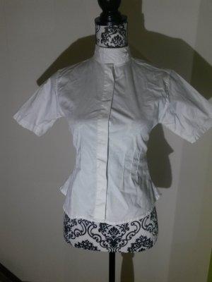 Weiße Kurzarmbluse mit Stehkragen der Marke ELT Paris