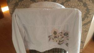 Weiße Kurzjacke mit Muster am Rücken