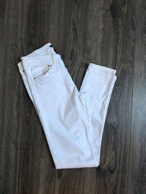 Weiße lange Stretchjeans