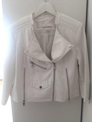 Weiße Lederjacke in Größe 42
