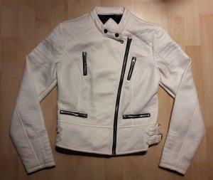 Weiße Lederjacke mit schwarzen Reißverschlüssen