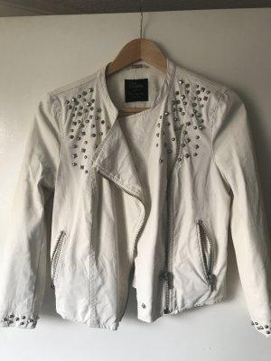 Weiße Lederjacke Zara M