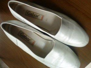 weiße Lederslipper von GABOR in Größe 6 1/2 , 40