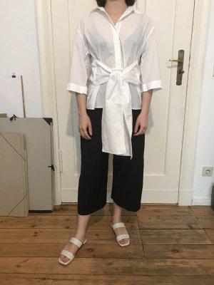 Weiße leicht transparente Bluse mit Gürtel zum Binden von H&M Trend in Größe 34