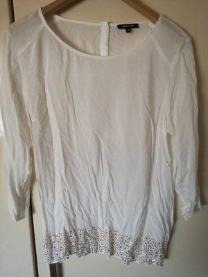 Weiße, leichte Bluse mit goldfarbigen Plättchen