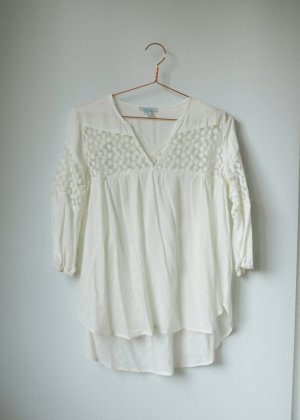Weiße leichte Boho Bluse mit transparenten Einsätzen und Stickereien S