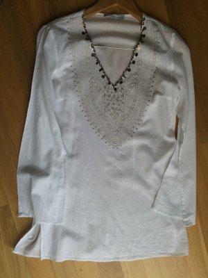 Weiße Leinen Tunika Bluse aufwendig bestickt