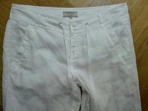 Guess Pantalon en lin blanc lin