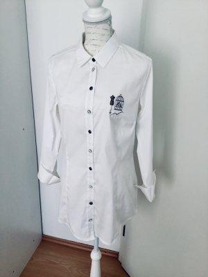 Weiße Longbluse Hemd tailliert Größe 42