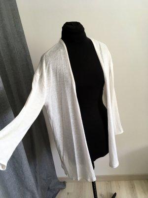 H&M Gilet long tricoté blanc polyester