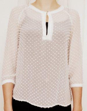 Weiße Mango Bluse mit Flocken-Textur