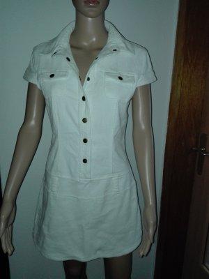 Weiße Mini Kleid aus Cord ,elastisch.A-linien.