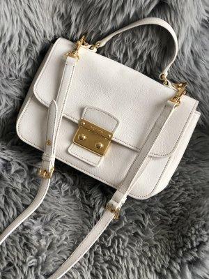 Weiße Miu Miu Madras Tasche mit goldener Schließe