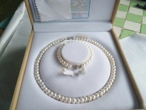 Bracciale di perle bianco Argento