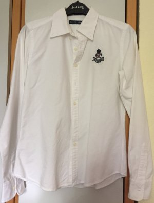 Weiße Ralph Lauren Polo Bluse Skinny Fit