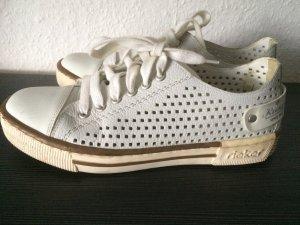 weiße Rieker Sneakers / Halbschuhe mit Löchermuster - Gr. 38