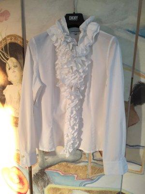 Weiße Rüschenbluse im vikorianischen Stil
