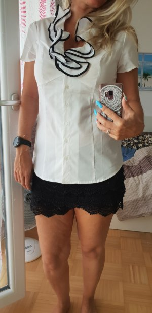 Ruffled Blouse white-black