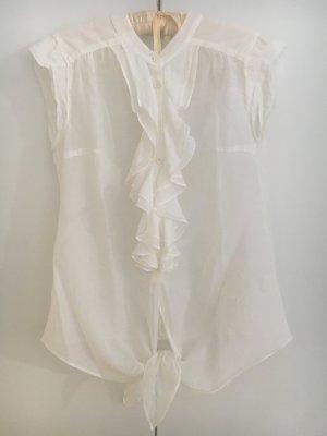Weiße Rüschenbluse von Gant mit Seidenanteil