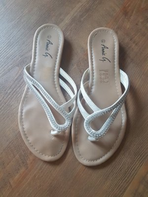 Toe-Post sandals silver-colored-white