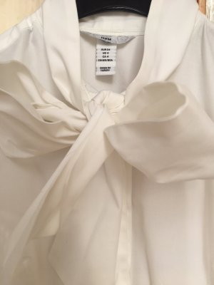 H&M Tie-neck Blouse white cotton